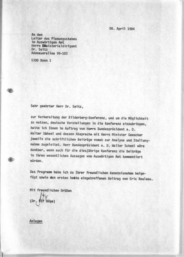 Auswäringes amt 1984 Bilderberger Treffen
