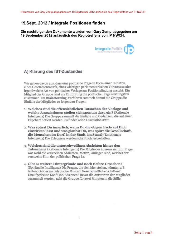 Dokumente von Gary Zemp abgegeben am 19.September 2012 anlässlich des Regiotreffens von IP NWCH19.Sept. 2012 / Integrale P...