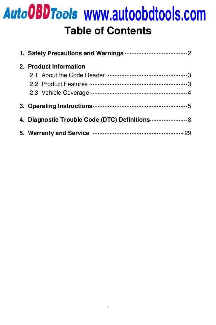 www.autoobdtools.com                     Table of Contents1. Safety Precautions and Warnings ·····························...