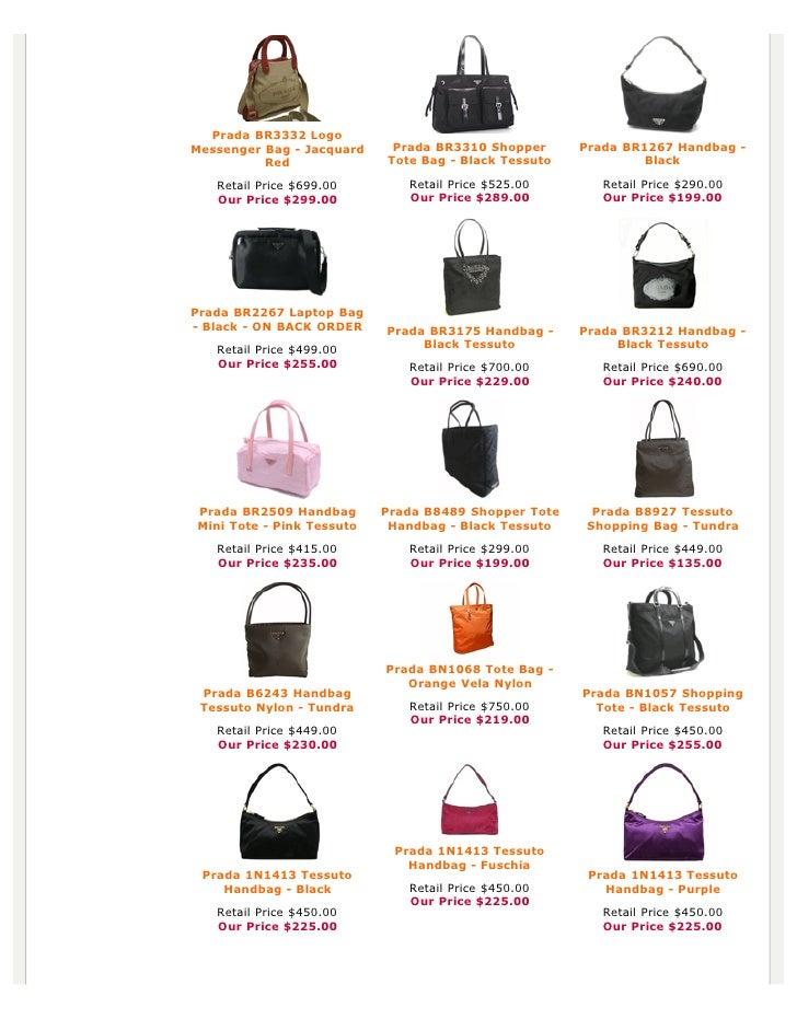 prada handbag price list
