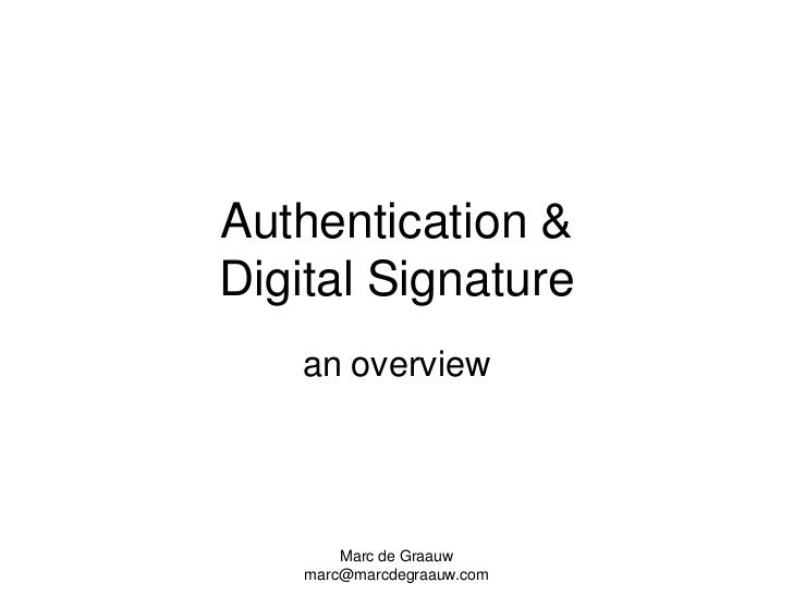 Authentication and signatures   overview