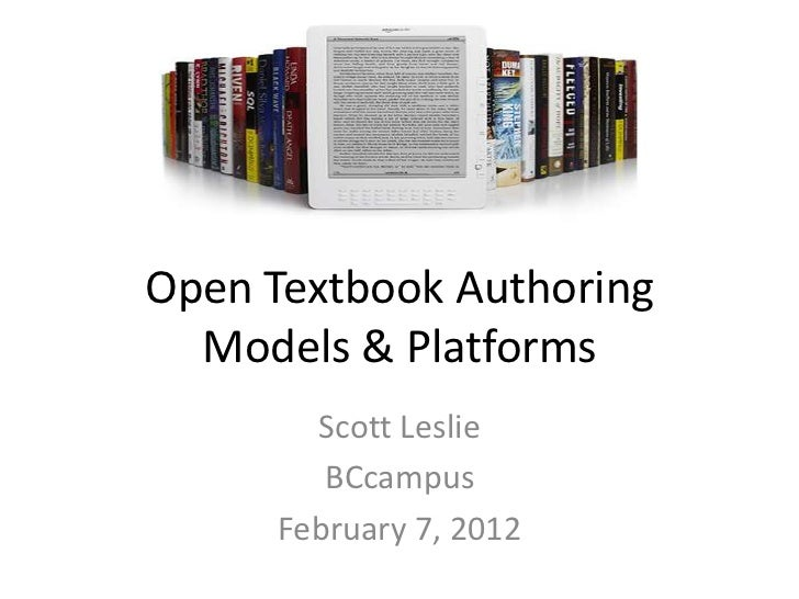Open Textbooks Authoring Models and Tools