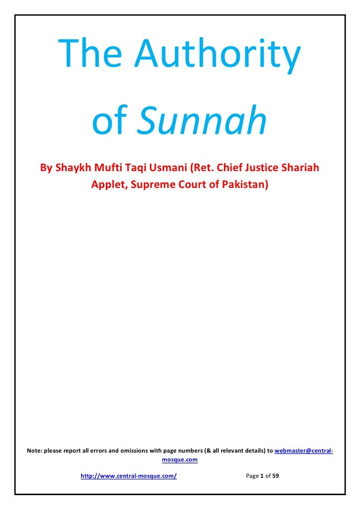 The Authority                      of Sunnah    By Shaykh Mufti Taqi Usmani (Ret. Chief Justice Shariah             Applet...