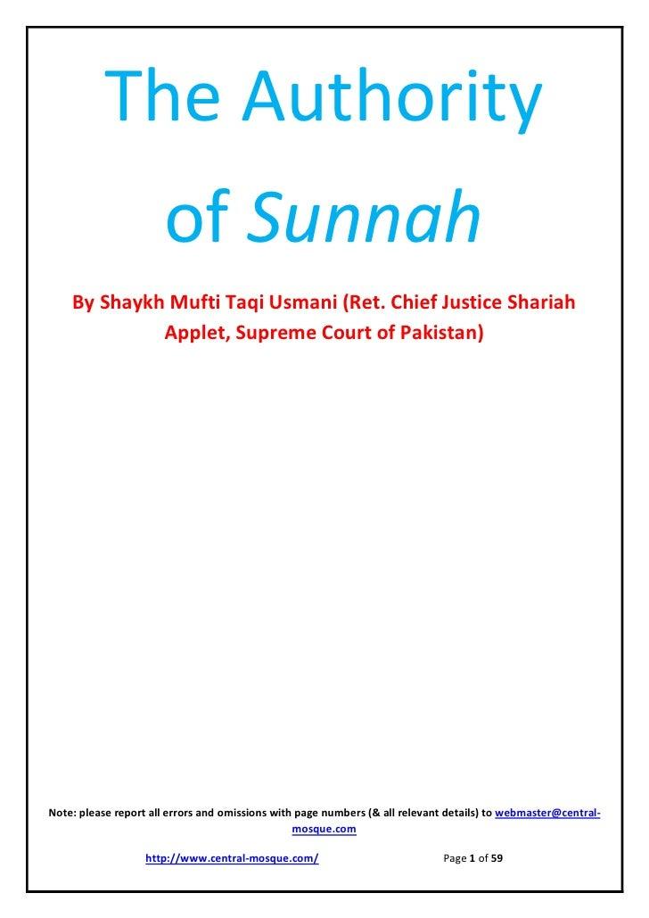 Authority ofsunnah muftitaqiusmani
