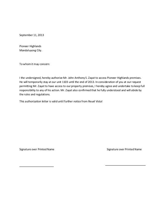 RD news AUTHORIZATION LETTER – Sample Authorization Letter