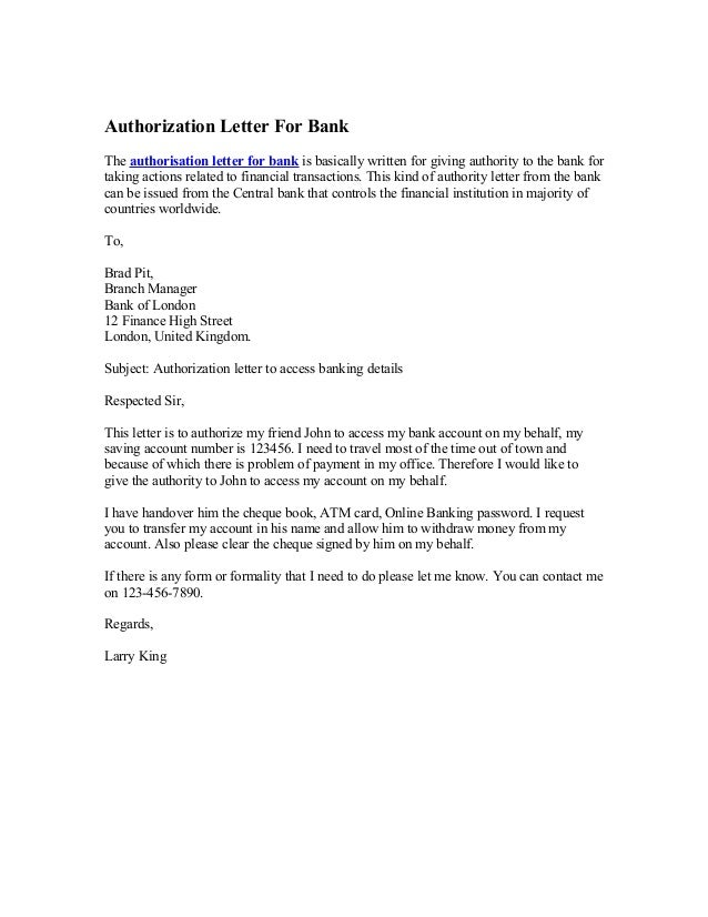 Authorization Letter For BankThe Authorisation Letter For