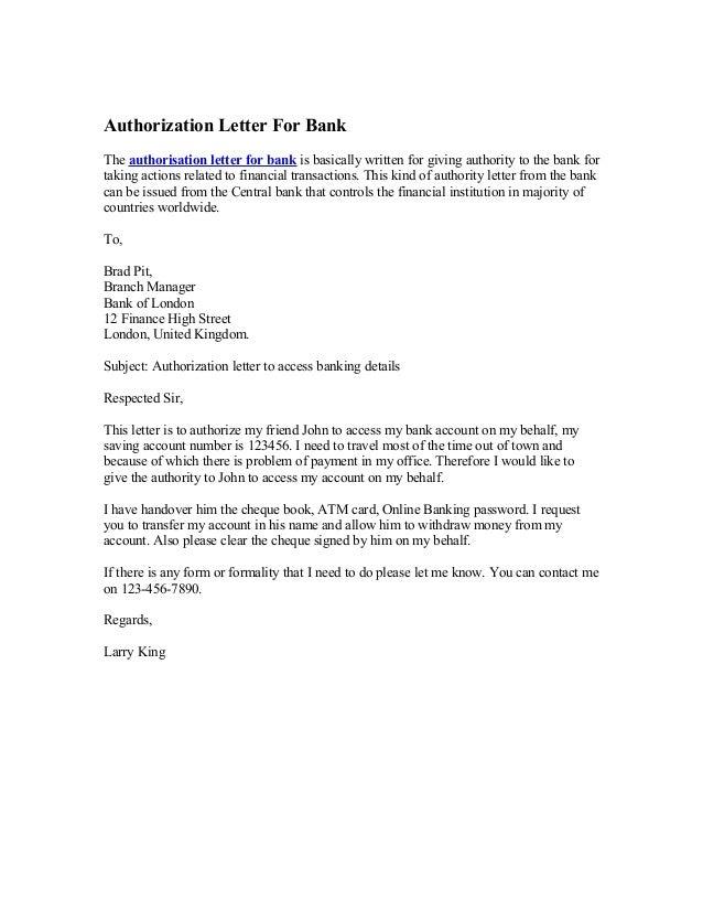 Authorization Letter For Bankthe Authorisation Letter For