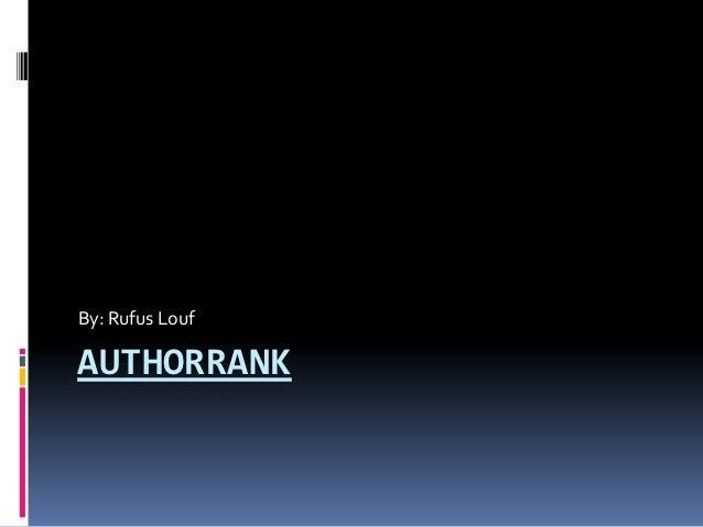 Author rank social media assignment #2