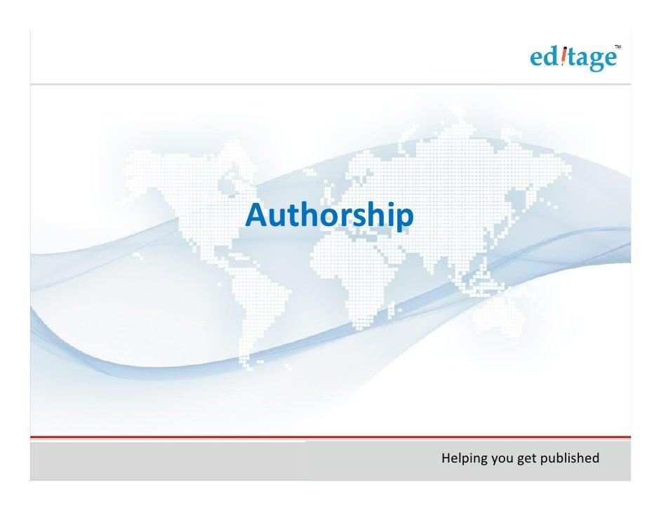 Authorship             Helping you get published