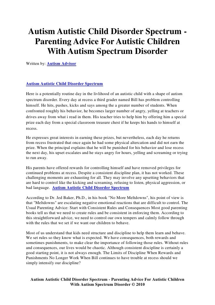 Autism Autistic Child Disorder Spectrum -   Parenting Advice For Autistic Children       With Autism Spectrum Disorder Wri...
