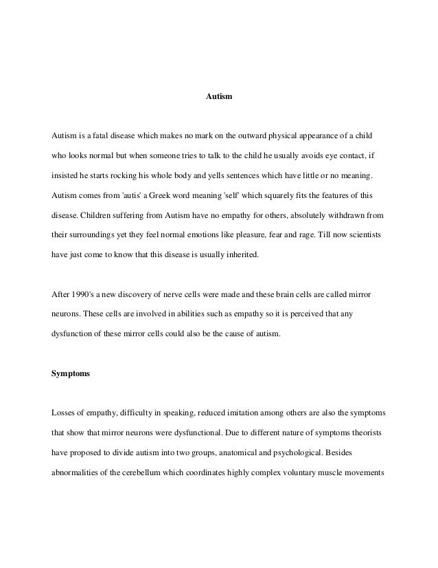 apa research paper on autism