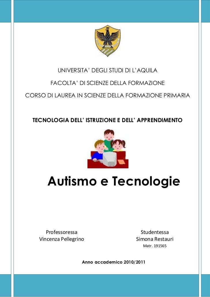 Autismo e tecnologie for Tesi autismo e gioco