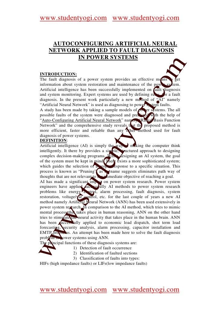 www.studentyogi.com www.studentyogi.com          AUTOCONFIGURING ARTIFICIAL NEURAL       NETWORK APPLIED TO FAULT DIAGNOSI...