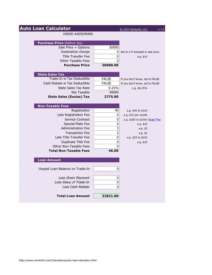 Auto Loan Calculator                                                           © 2007 Vertex42, LLC        v 1.0          ...