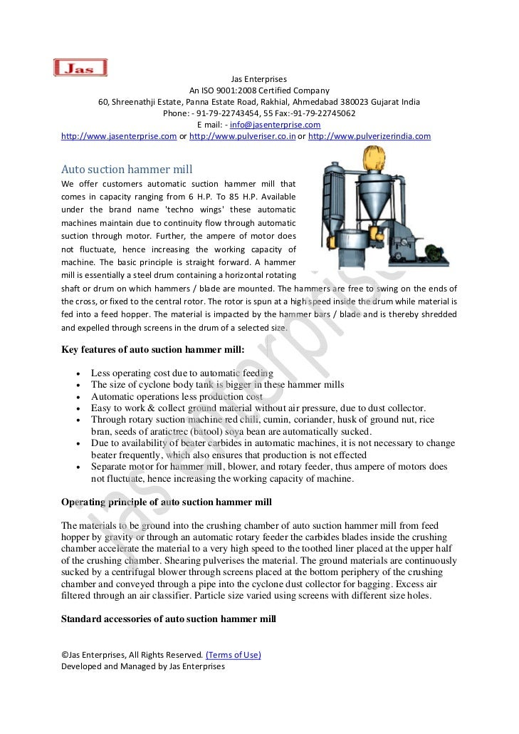 Auto suction-hammer-mills