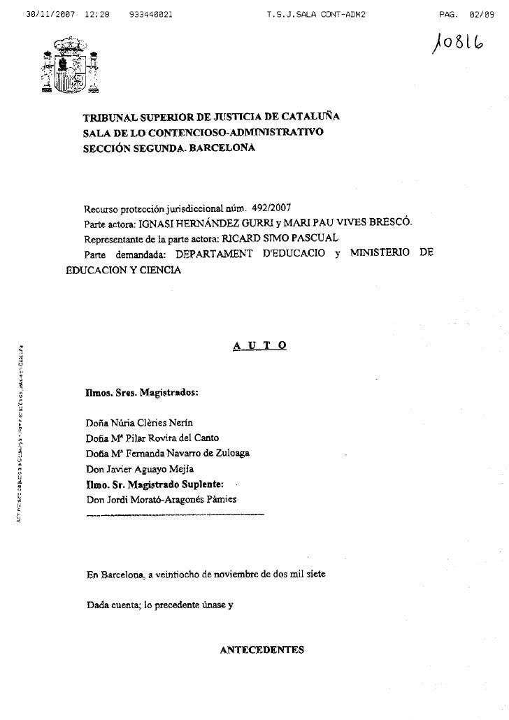 Auto TSJ Cataluña no objeción EpC