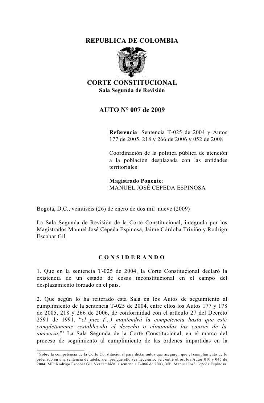REPUBLICA DE COLOMBIA                            CORTE CONSTITUCIONAL                                   Sala Segunda de Re...