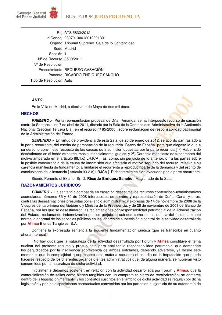 Roj: ATS 5833/2012              Id Cendoj: 28079130012012201301                Órgano: Tribunal Supremo. Sala de lo Conten...