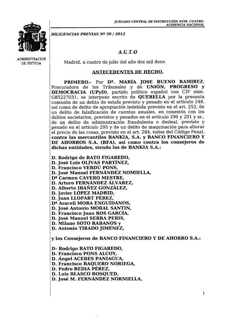 Auto Audiencia Nacional sobre Bankia