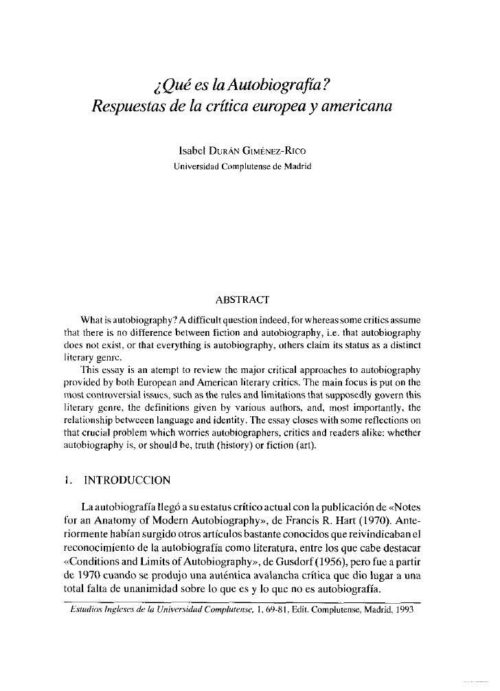 ¿Qué es la Autobiografía?      Respuestas de la crítica europea y americana                             Isabel DURÁN OsMÉN...