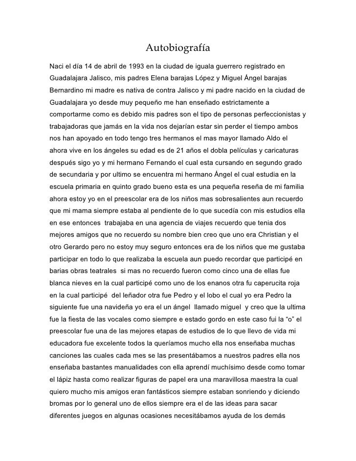Autobiografía Naci el día 14 de abril de 1993 en la ciudad de iguala guerrero registrado en Guadalajara Jalisco, mis padre...