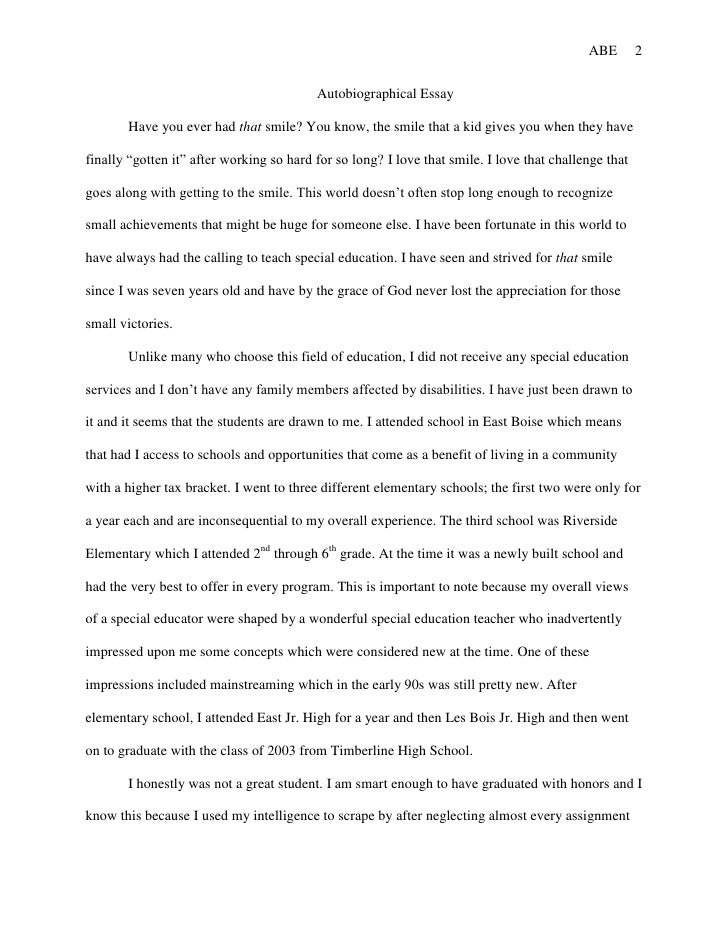 An example of an autobiographical essay/personal narrative