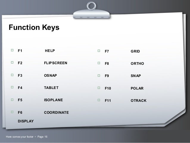 assigning function keys in autocad