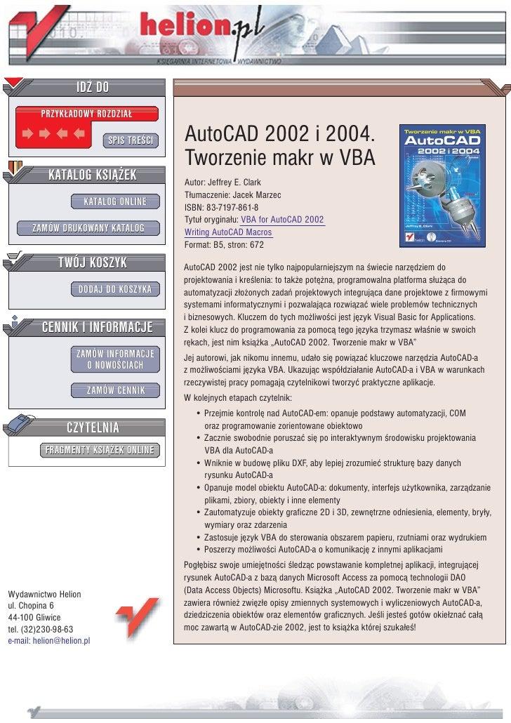 IDZ DO          PRZYK£ADOWY ROZDZIA£                             SPIS TRE CI   AutoCAD 2002 i 2004.                       ...