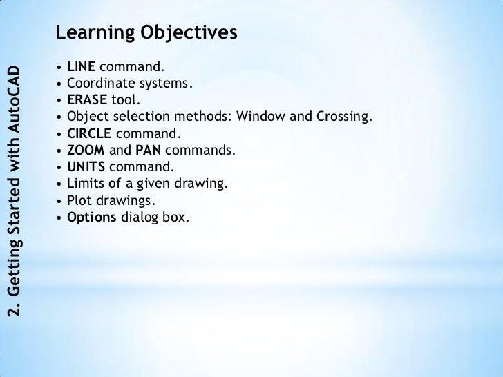 Learning Objectives                                  • LINE command.2. Getting Started with AutoCAD                       ...