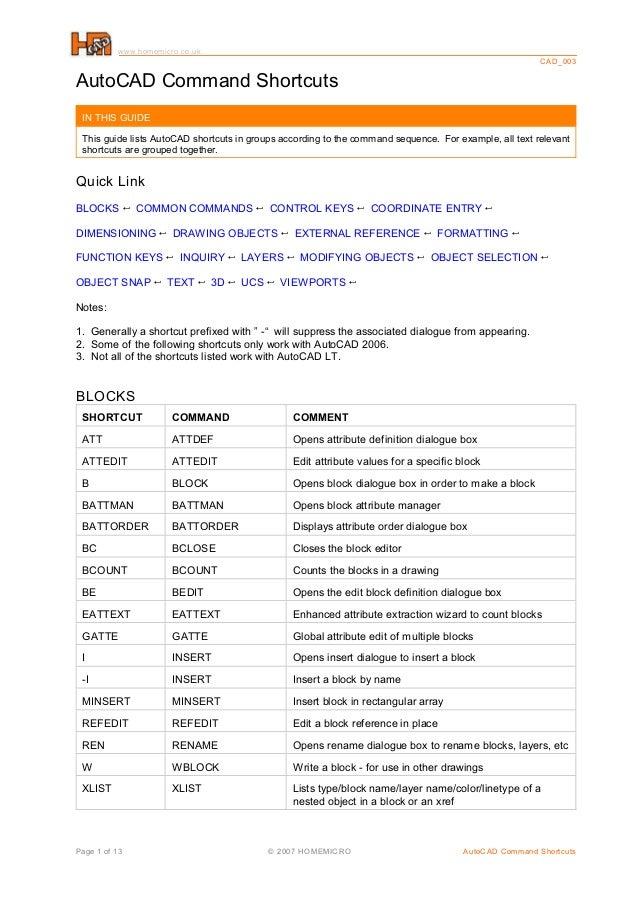 Auto cad command_shortcuts