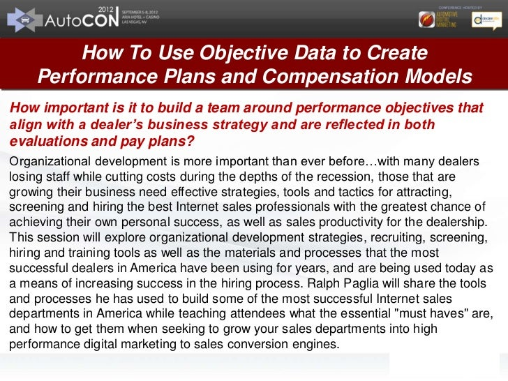 Ralph Paglia AutoCon 2012 Objective Data Performance Plans