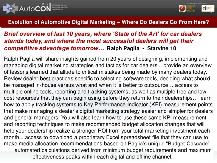 Ralph Paglia AutoCon Evolution of Automotive Digital Marketing Presentation