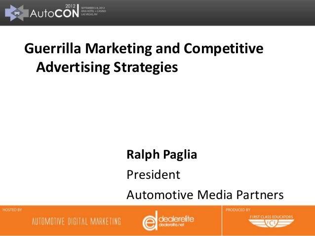 Automotive Guerrilla Marketing - Ralph Paglia at AutoCon 2012