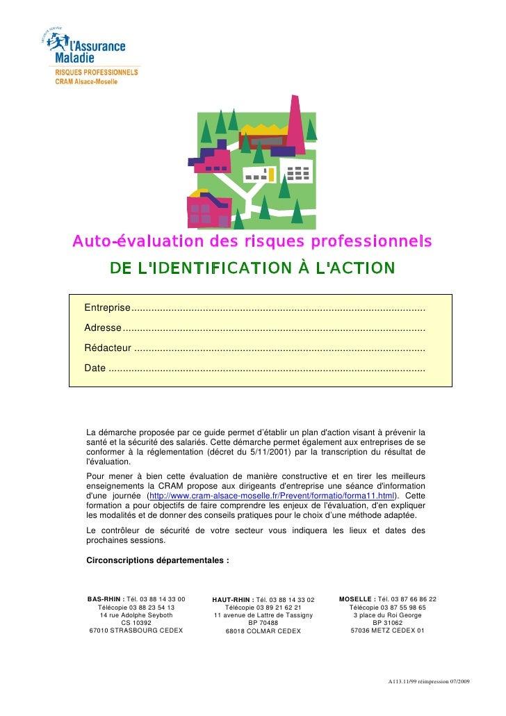 Auto-évaluation des risques professionnels         DE LIDENTIFICATION À LACTION Entreprise...................................