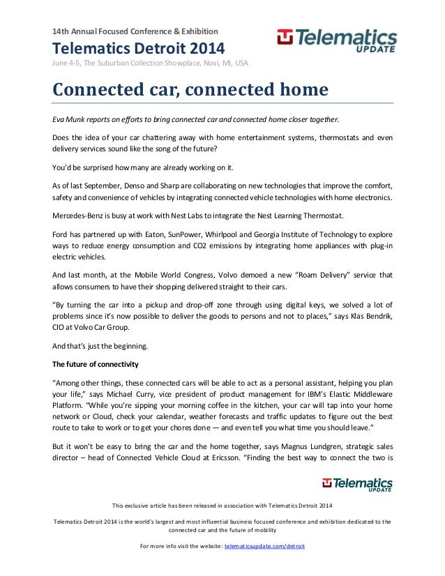 Connected car, connected home