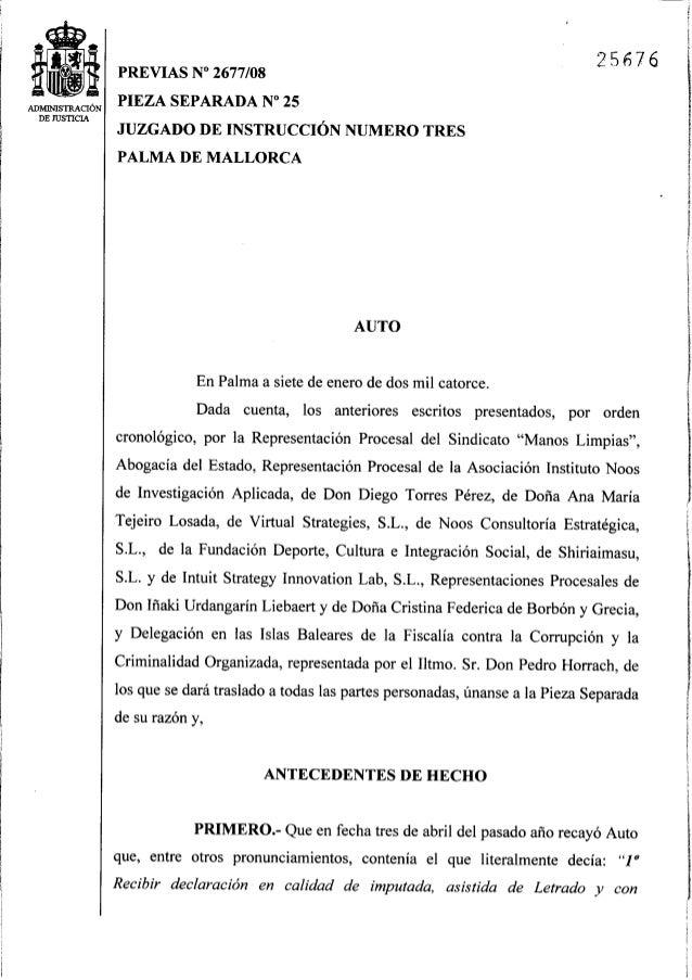 Auto juez Castro imputación Infanta Cristina