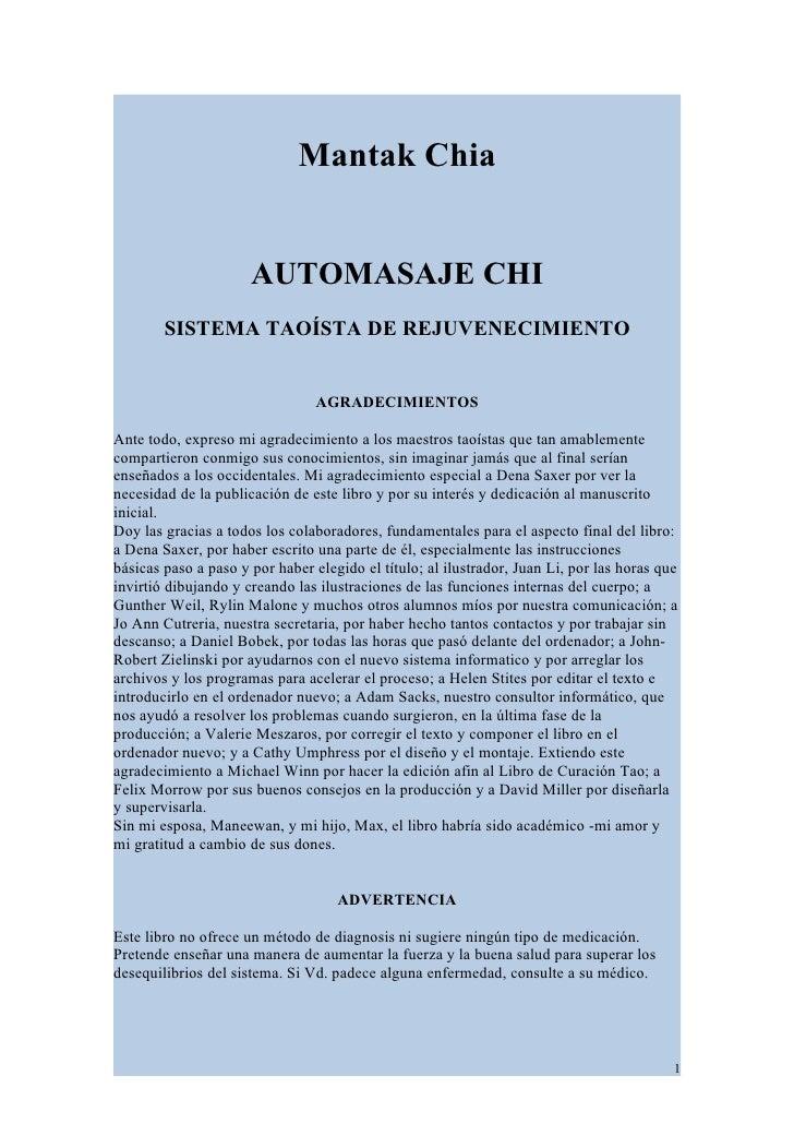 Mantak Chia                         AUTOMASAJE CHI         SISTEMA TAOÍSTA DE REJUVENECIMIENTO                            ...