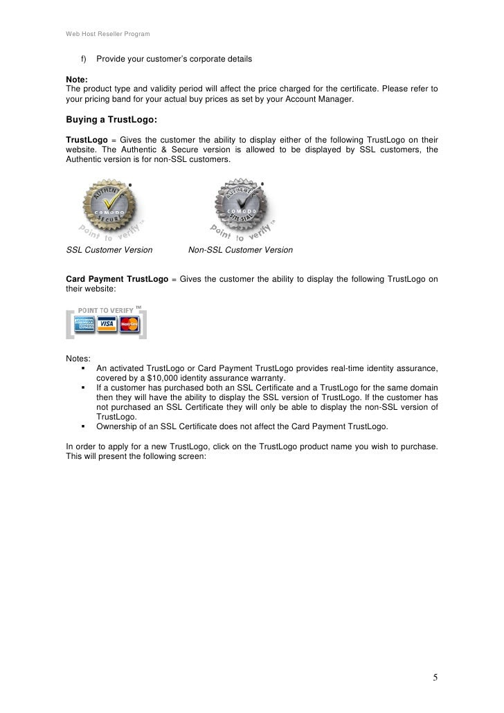 Reseller Program Details Web Host Reseller Program f Provide Your Customer 39 s Corporate Details Note