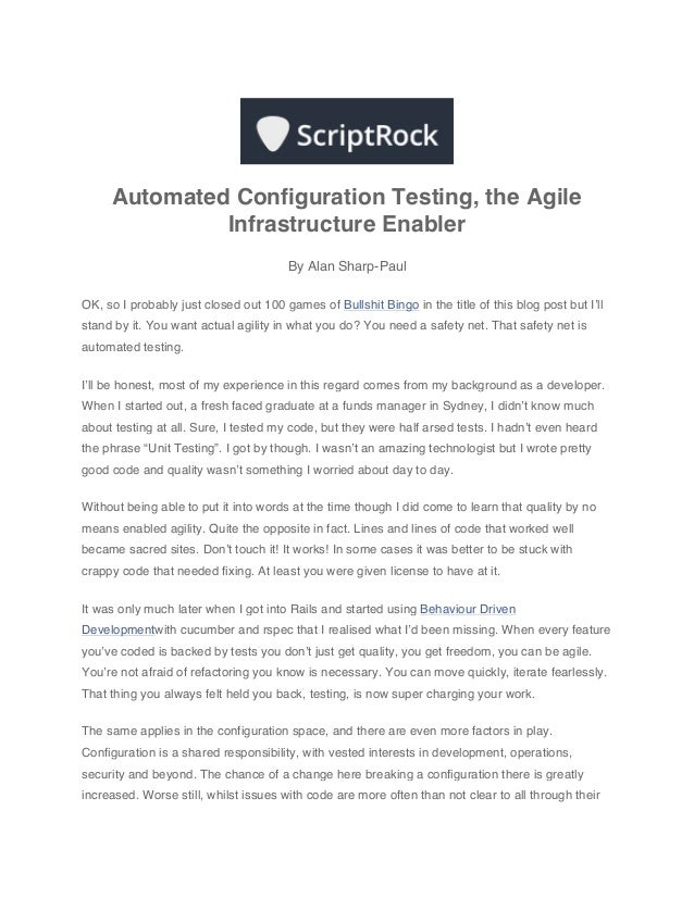Automated Configuration Testing, the Agile Infrastructure Enabler