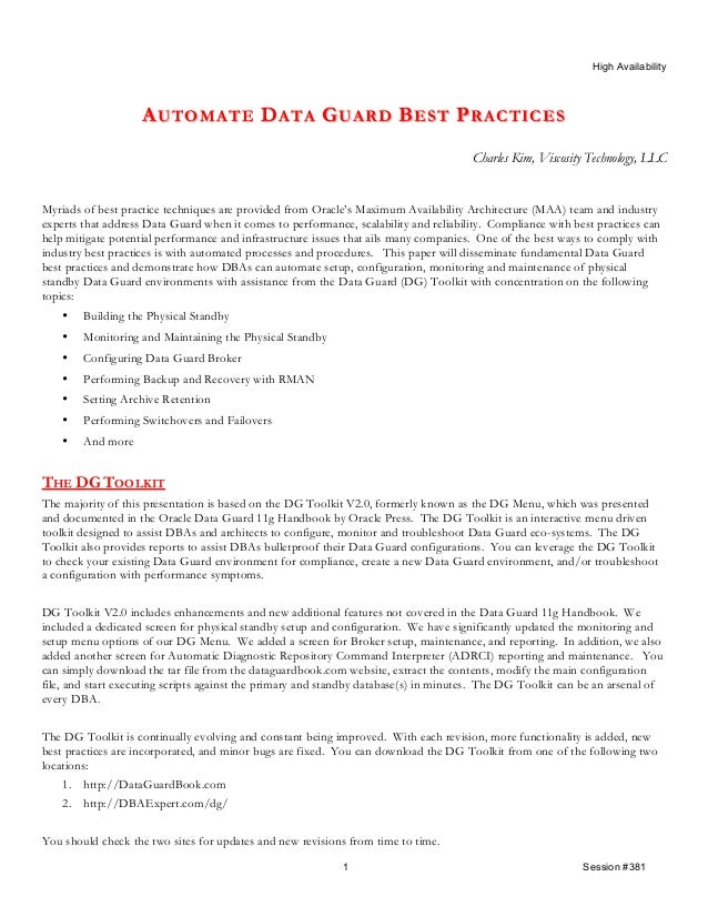 Automate DG  Best Practices