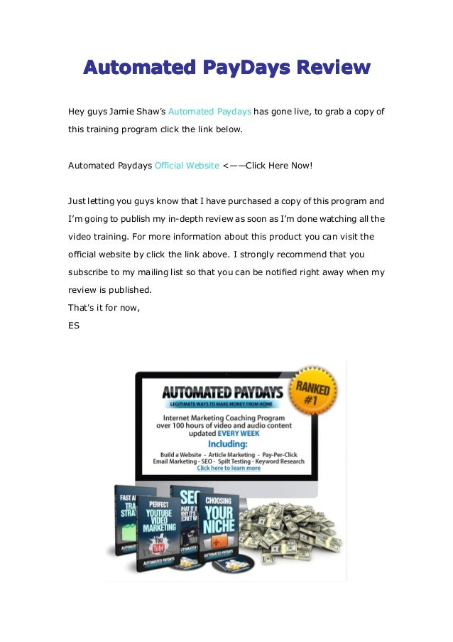 Automated paydays free download