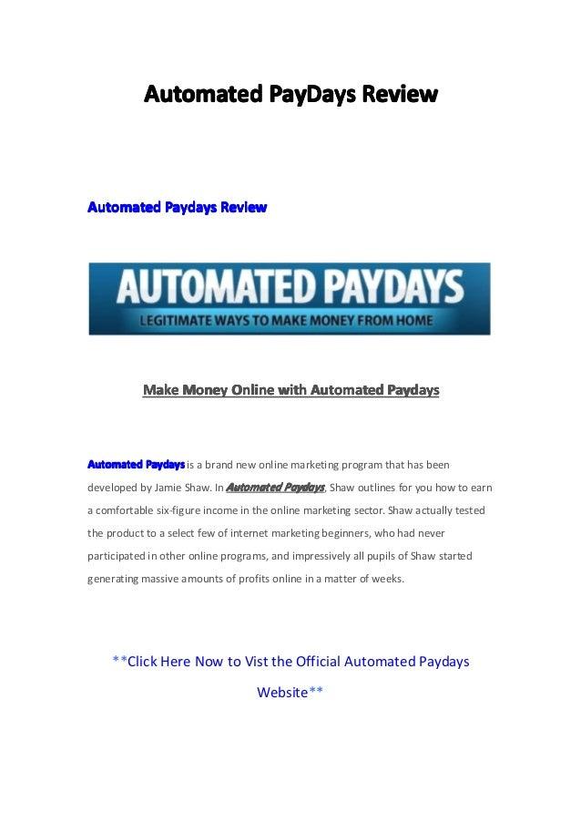 AutomatedAutomatedAutomatedAutomated PayDaysPayDaysPayDaysPayDays ReviewReviewReviewReviewAutomatedAutomatedAutomatedAutom...