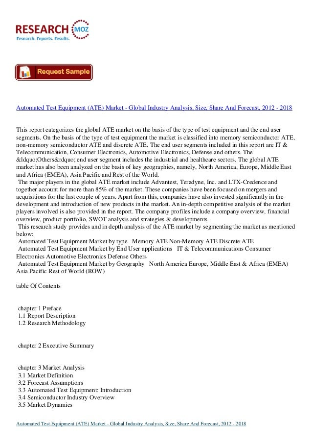 Automated Test Equipment (ATE) Market - Global Industry Analysis, Size, Share And Forecast, 2012 - 2018 This report catego...
