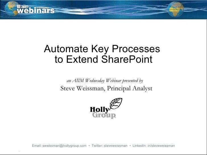 Automate Key Processes  to Extend SharePoint an AIIM Wednesday Webinar presented by Steve Weissman, Principal Analyst   Em...