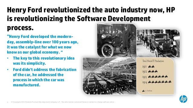henry ford and the revolution of the automobile industry Soon henry ford was producing a small tractor, the fordson, which continued the transition on the farm that the model t had launched as a result, the horse disappeared so rapidly that the transfer of acreage from hay to other crops caused an agricultural revolution the cycle of innovation and change, one of ever increasing yields and.