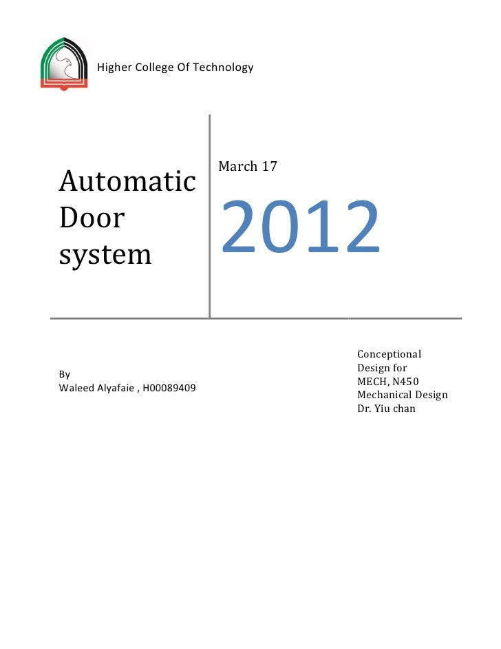 Higher College Of Technology                              March 17AutomaticDoorsystem                        2012         ...