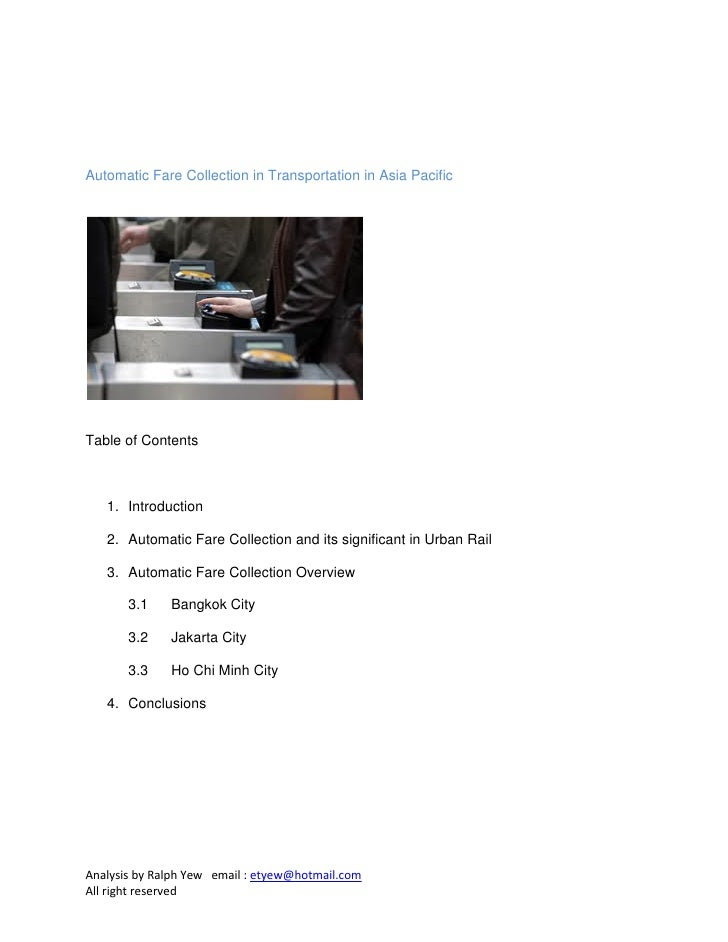Automatic Fare Collection in Transportation in Asia PacificTable of Contents   1. Introduction   2. Automatic Fare Collect...