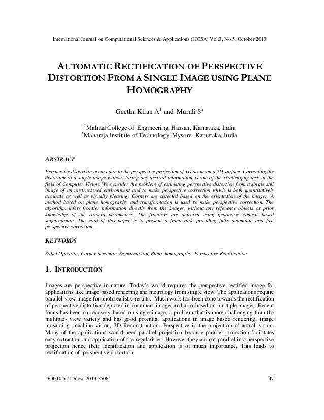 International Journal on Computational Sciences & Applications (IJCSA) Vol.3, No.5, October 2013  AUTOMATIC RECTIFICATION ...