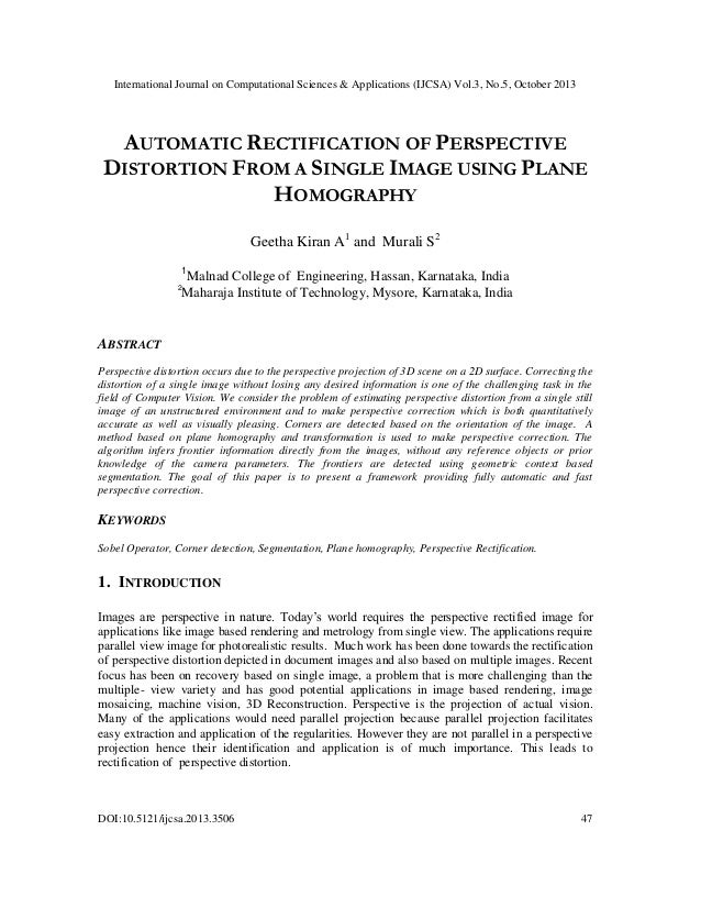 Automatic rectification of perspective distortion from a single image using plane homography