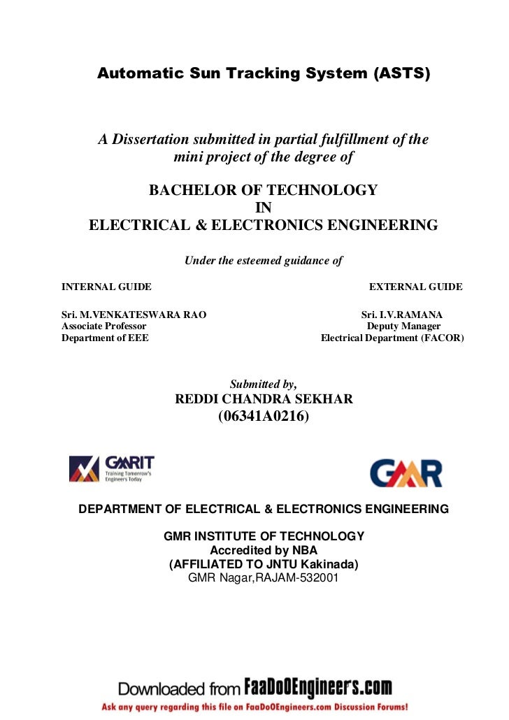Automatic Sun Tracking System (ASTS)     A Dissertation submitted in partial fulfillment of the                 mini proje...